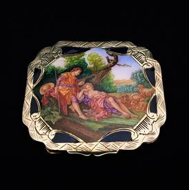 ,SILVER & ENAMEL POWDERED COMPACT. .800 SILVER, CA. 1940'S. STUNNING BAROQUE/NEO-CLASSICAL SHEPHERD COURTING SCENE. GILT. 3.05 TROY OZ