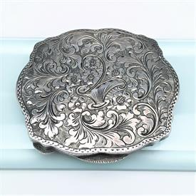 ",VICTORIAN ERA .800 ITALIAN SILVER POWDER COMPACT WITH ORIGINAL CONTENTS. 3.1"" LONG, 2.75"" WIDE, .4"" DEEP. APPROX 2.56 OZT"