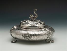 ",ITALIAN 90% PURE SILVER LIDDED BOWL WITH DOLPHIN FINIAL 7.5"" DIAMETER 5.5"" TALL"