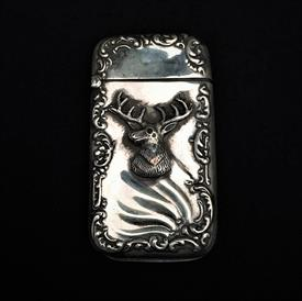 ",STAG MATCH SAFE IN STERLING SILVER SET WITH GARNET EYE BY WATROUS MFG. CO. 2.5"" TALL, .68 TROY OUNCES. ENGRAVED 'FROM JF TO WHY'"