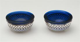 "SET OF 2 BLUE COBALT SALT CELLAR STERLING SILVER LINED 1.75"" DIAMETER"
