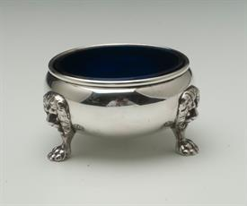 "LION STERLING SILVER SALT CELLARS WITH BLUE COBALT GLASS 2.6"" DIAMETER 1.7"" TALL"