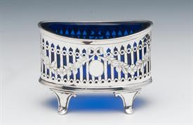 ",SALT CELLARS WITH BLUE COBALT GLASS 2.10 TROY OUNCES OF STERLING SILVER MADE IN LONDON,ENGLAND 3.25"" WIDE BY 2.5"" TALL"