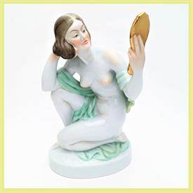 ",5724 WOMAN HOLDING MIRROR FIGURINE. 9.5"" TALL"