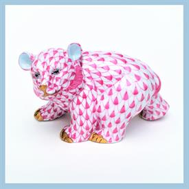 ",15362/VHP BEAR WALKING W/ RASPBERRY PINK FISHNET W/ GOLD ACCENTS. 2.25""T X 4""W X 2""D"