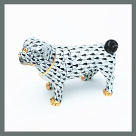 ",15490 PUG DOG W/ BLACK FISHNET AND GOLD ACCENTS -RARE! 2.75""T X 1.5""D X 4""W"