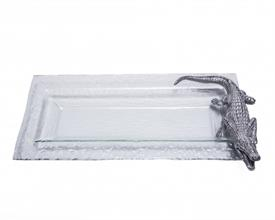 "-OBLONG GLASS TRAY. 18"" LONG, 8"" WIDE, 1.5"" TALL"