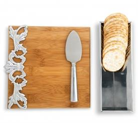"-ACANTHUS BAMBOO CHEESE SET. INCLUDES 8"" WIDE BOARD, 9"" LONG, 3"" WIDE STAND, & 7"" KNIFE"