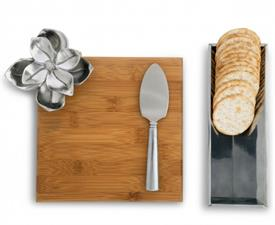 "-BAMBOO CHEESE SET. INCLUDES 9.5"" LONG, 8"" WIDE BOARD, 9"" LONG, 3"" WIDE STAND, & 7"" CHEESE KNIFE"