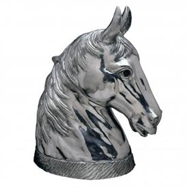 "-HORSE ICE BUCKET, WINE COOLER. HINGED NECK OPENS TO REVEAL HOLLOW INTERIOR. 18.5"" TALL, 18"" LONG, 10"" WIDE"