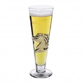 "-GOLD HORSE PILSNER GLASS. 24K GOLD PLATED. 9"" TALL, 3"" WIDE"