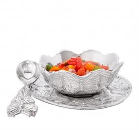 "-3 PIECE CONDIMENT SET. INCLUDES 1EA 7"" PLATE, 5.25"" WIDE BOWL, & 5"" LONG SPOON"