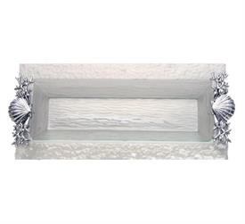 "-,OBLONG TRAY WITH GLASS & SHELL, SEA LIAFE HANDLES. 18"" LONG, 8"" WIDE, 1.5"" TALL"