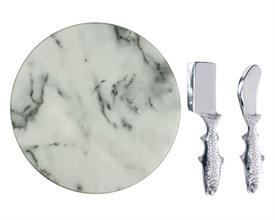 "-TROUT CHEESE AND MARBLE SET. 12"" WIDE MARBLE SLAB AND TWO CHEESE KNIVES."