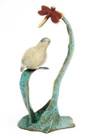 "-,80213 BIRD WITH DRAGONFLY 9.5"" HIGH 5""WIDE AND 4.5""DEEP BRASS."
