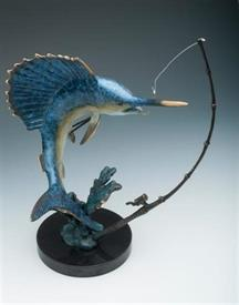 "-80257 SAILFISH FIGHTING WITH TACKLE  14""HGT BLUE YELLOW SAILFISH"