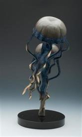 ",-80274 JELLYFISH PAIR ON BASE 11""IN HEIGHT ON BLACK MARBLE BASE."