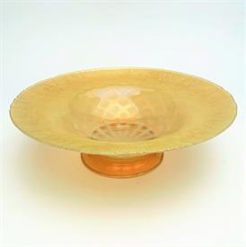 """,PASTEL FAVRILE YELLOW OPALESCENT DIAMOND PATTERN FOOTED BOWL. 9"""" DIAMETER X 2.75"""" TALL. SIGNED 'L.C.TIFFANY-INC. FAVRILLE' #1576-4049N"""