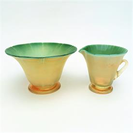 """,#1583 MATCHED SET, SUGAR & CREAMER. PASTEL GREEN TO YELLOW. EACH 3""""T. SIGNED."""