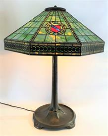 ",TIFFANY STUDIOS ""HARVARD"" LAMP 8 SIDED SHADE AND 4 SHIELDS ON A SIGNED PATINATED BRONZE BASE.   CIRCA EARLY 1900'S"
