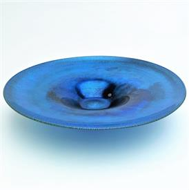 ",PEACOCK BLUE IRIDESCENT FAVRILE CONSOLE,CHARGER OR LOW CENTER PIECE BOWL UNSIGNED 13""D X 2.75""T FEW INCLUSIONS SEE PHOTOS"