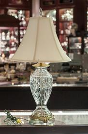 "WATERFORD LAMP WITH FINIAL AND SHADE. 29.25"" TALL."