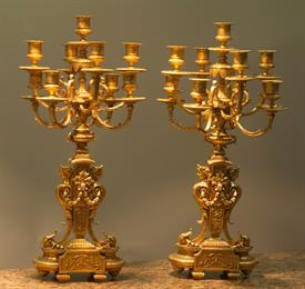 "24.5"" TALL 9 LIGHT PAIR OF GOLD ORMOLU GILT FRENCH CANDELABRAS - MAGNIFICENT!  GOLD IS A NICE 18K-22K COLORATION ALL IN TACT. BEAUTIFUL!"
