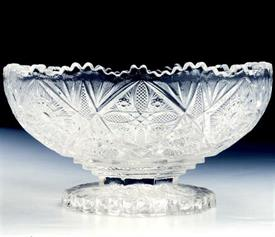 "PRESSED CRYSTAL BOWL 8""IN HEIGHT 4.5"" IN DEPTH FOOTED"