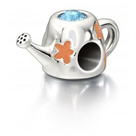-,WATERING CAN STERLING SILVER CORAL EDNAMEL& AQUAMARINE.
