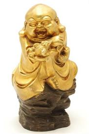 "14"" Chinese Solid Bronze Gilt Happy Laughing Maitreya Buddha Wealth Cicada Statue"