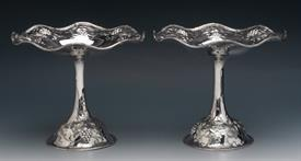""",PAIR OF TAZZA COMPOTES STERLING SILVER MADE BY A.G. SCHULTZ & CO. BALTIMORE MARYLAND WEIGHT 18.15 TROY OUNCES 6.25"""" TALL"""