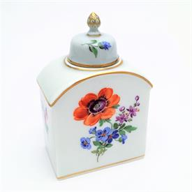 ",RARE SMALL TEA CANNISTER WITH COVER IN FLORAL PATTERN. POST 1934. 3.75"" TALL, 2.25"" LONG, 1.5"" WIDE. MARKED FACTORY SECOND"