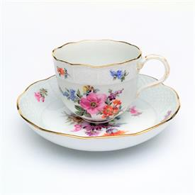 ,1934-1944 BOTANICAL STUDY DEMITASSE CUP & SAUCER WITH FIGURAL BRANCH HANDLE.