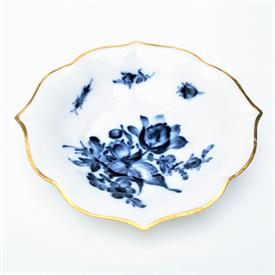 ",1934-1944 FLOW BLUE FLORAL MOTIF TRINKET DISH. 2ND QUALITY. 5.4"" WIDE"