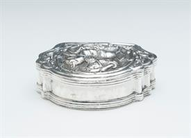"ST. GEORGE SLAYING THE DRAGON PILL BOX SILVER MADE IN EUROPE UNMARKED 1.5 TROY OUNCES 2.6"" ACROSS BY 2"" WIDE BY .66"" TALL"