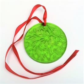 ",1992 CHARTREUSE LIME GREEN GUI MISTLETOE NOEL DISC ORNAMENT. 2.5""D. ORIGINAL BOX INCLUDED"