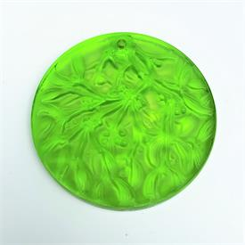 ",1992 CHARTREUSE LIME GREEN NOEL DISC ORNAMENT. 2.5""D"