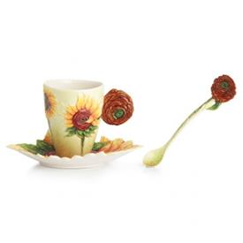 ,-SUNFLOWERS CUP, SAUCER, & SPOON SET.