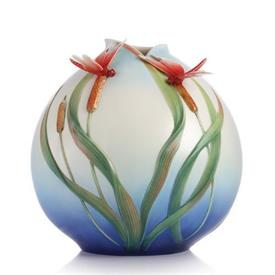 """-,FREE SPIRIT RED DRAGONFLY VASE. 10.4"""" TALL, 10.25"""" WIDE, 9.6"""" DEEP"""