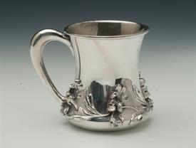 ",WM WISE & CO. HIGH RELIEF FLORAL DRINKING CUP STERLING SILVER 3.2"" TALL 4.10 TROY OUNCES MONOGRAMMED ""WLC"""