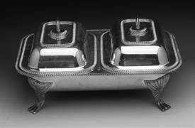 """Double Vegetable Holder Silver Plated 15"""" long by 10"""" wide by 7.5"""" high"""
