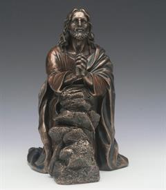 """_,JESUS PRAYING IN GETHSEMANE 7.5""""T COLD CAST BRONZE"""