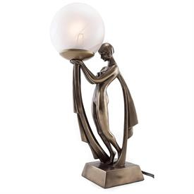 "-,ART DECO LADY LAMP. COLD CAST BRONZE AND GLASS. 16"" TALL"