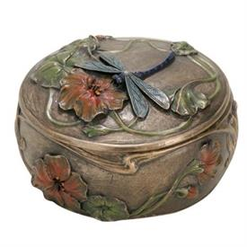 "-:ART NOUVEAU DRAGONFLY BOX. 3.75"" WIDE. COLD CAST BRONZE"