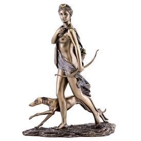 "-,DIANA THE HUNTRESS STATUETTE. COLD CAST BRONZE. 11"" TALL"