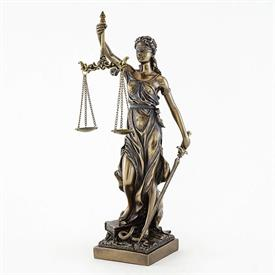 "-,LADY JUSTICE STATUETTE. COLD CAST BRONZE. 12.5"" TALL."
