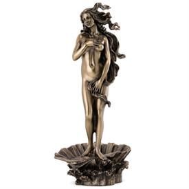 """-,'THE BIRTH OF VENUS' BY SANDRO BOTTICELLI COLD CAST BRONZE STATUETTE. 11.5"""" TALL"""