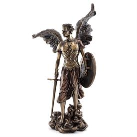 "-,ARCHANGEL MICHAEL STATUETTE. COLD CAST BRONZE. 13.5"" TALL"