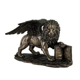 "-,LION OF SAINT MARK STATUETTE. COLD CAST BRONZE. 6.75"" TALL, 10.25"" LONG, 5.5"" WIDE"
