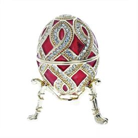 -,RED IMPERIAL STYLE EGG ON STAND.